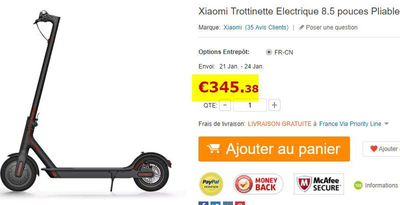 Trottinette électrique Xiaomi M187 Youth Edition