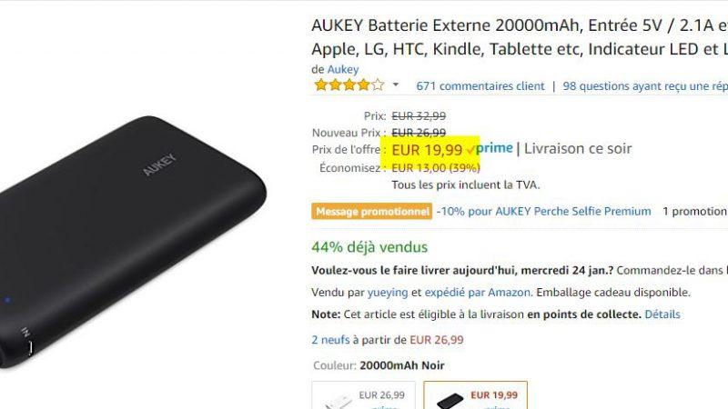 Batterie externe Aukey 20 000 mAh
