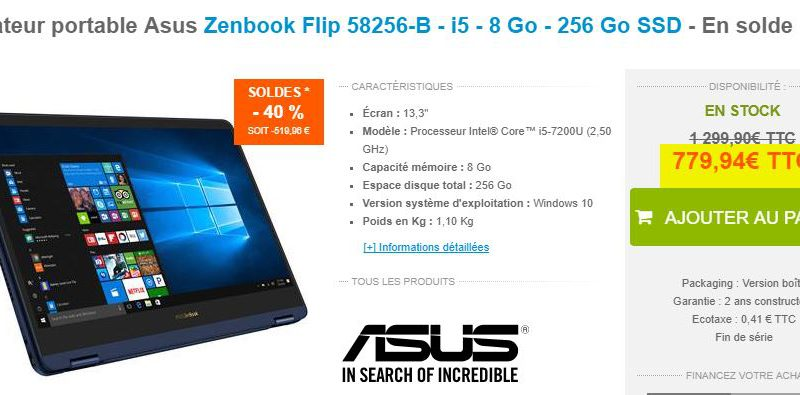 Ordinateur portable Asus Zenbook Flip 58256-B