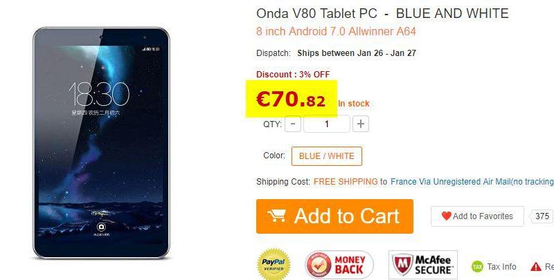 Tablette Onda V80