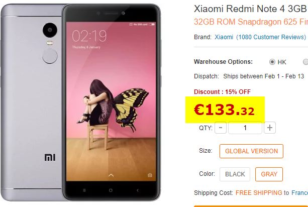 Smartphone Xiaomi Redmi Note 4 Gris