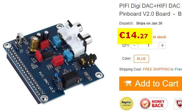 DAC audio pour Raspberry Pi PIFI DAC+