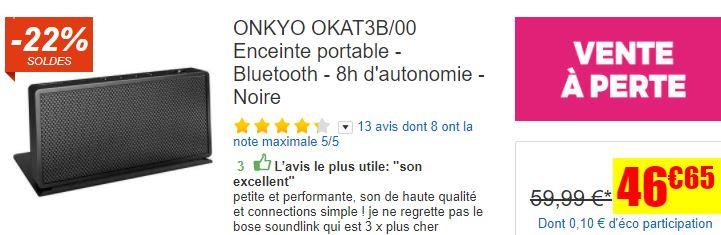 Enceinte Bluetooth Onkyo OKAT3B/00