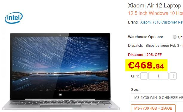 Ultrabook Xiaomi 12.5″ M3-7Y30 4 Go / 256 Go (STOCK EUROPE)
