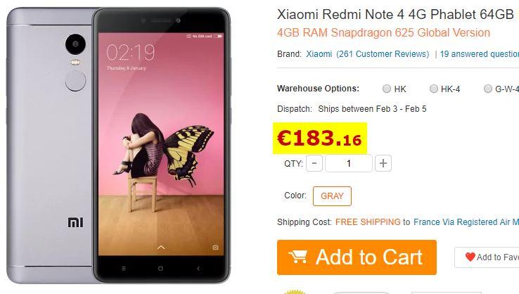 Smartphone Xiaomi Redmi Note 4 3/64Go Gris