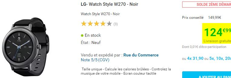 Montre connectée LG Watch Style W270