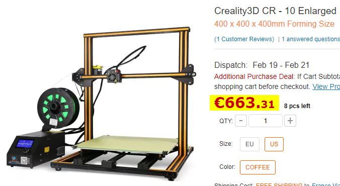 Imprimante 3D Creality CR-10 Enlarged