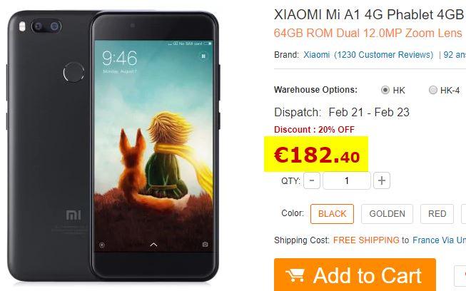 Smartphone XIAOMI Mi A1 Noir Stock France
