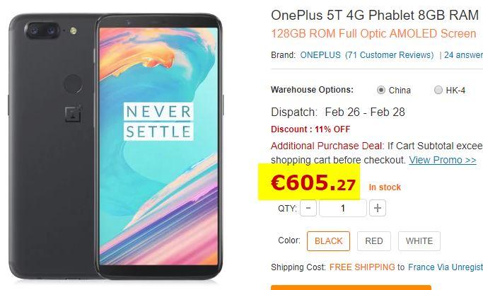 Smartphone OnePlus 5T 8/128 Go Noir