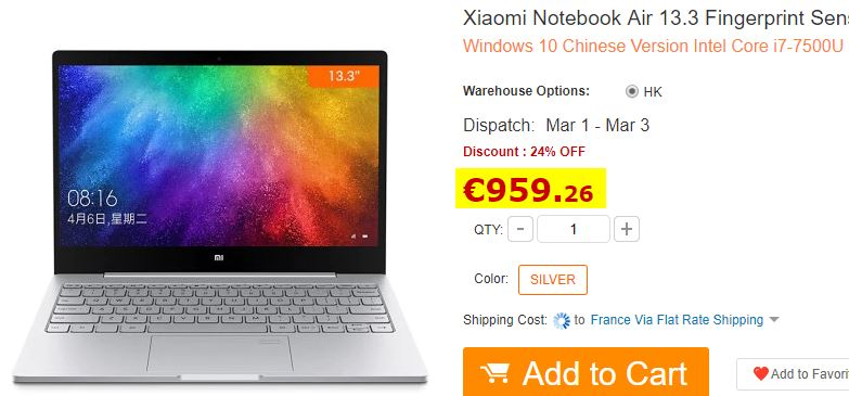 Ultrabook Xiaomi 13.3″ I7-7500U 8Go/256Go