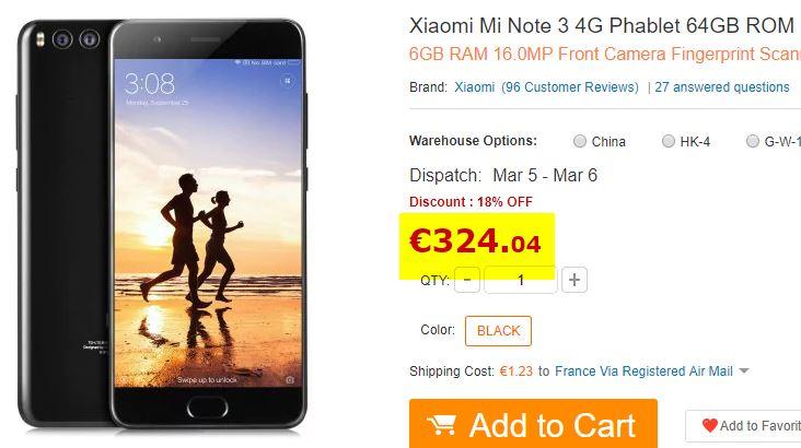 Xiaomi Mi Note 3 - 6Go/64Go Noir
