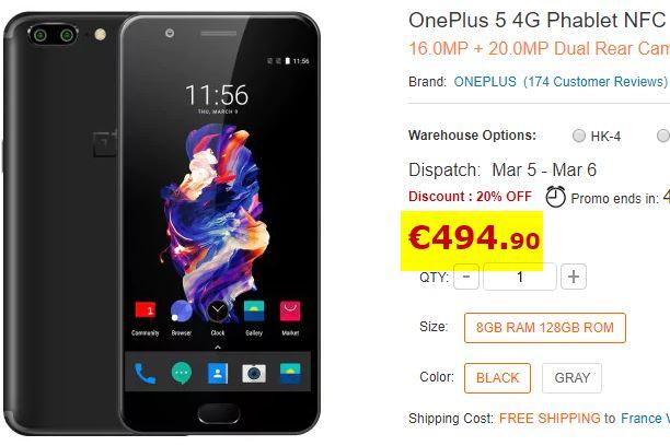 Smartphone OnePlus 5 8/128Go Gris