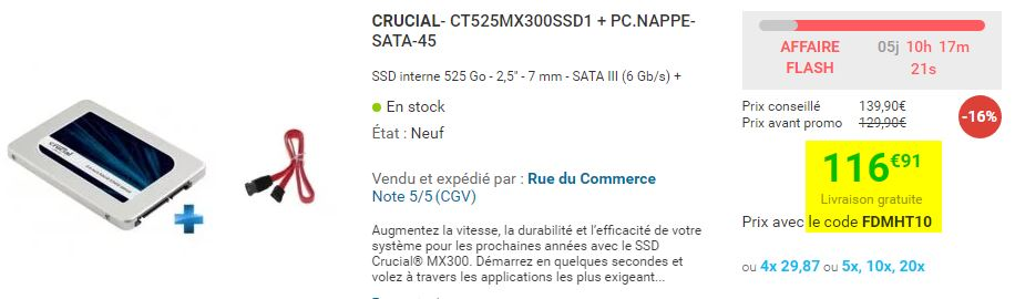 SSD Crucial MX300 525 Go