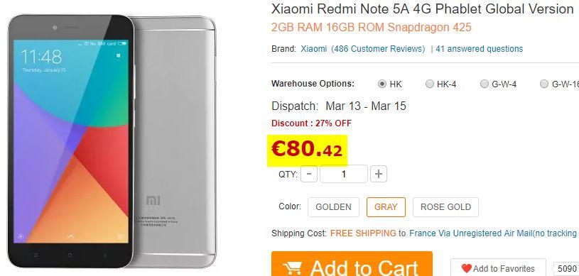 Smartphone Xiaomi Redmi Note 5A 2 Go - 16 Go Gris