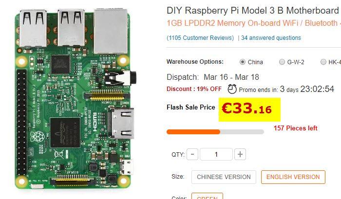 Carte de développement Raspberry Pi Modèle 3 B UK