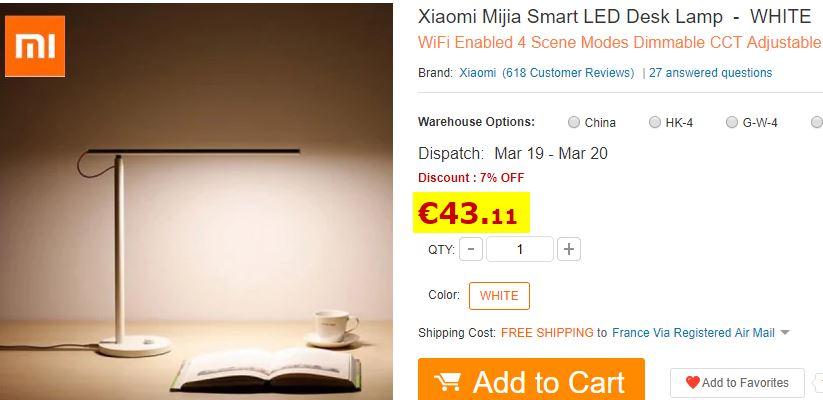Lampe de bureau Xiaomi Mijia