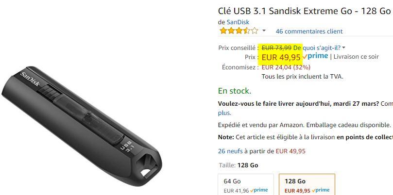 Clé USB Sandisk Extreme 128 Go