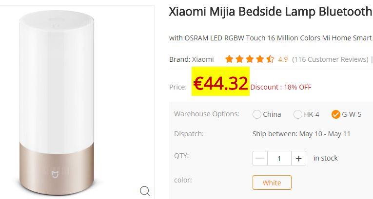 Lampe de chevet Xiaomi Mijia RVB