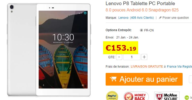Tablette Android Lenovo P8  Blanche