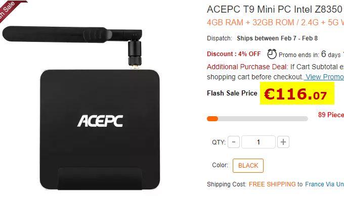 MiniPC AcePC T9 - Atom X5-Z8350 - 4/32Go