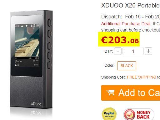 Lecteur audio Xduoo X20