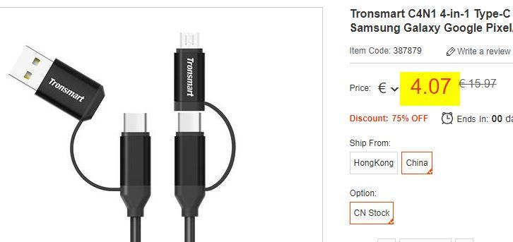 Cable USB Tronsmart C4N1