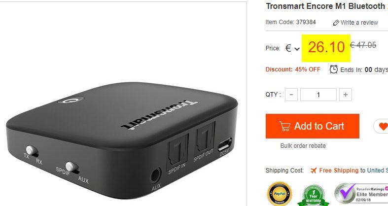 Transmetteur Bluetooth Tronsmart Encore M1