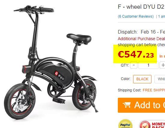 Vélo électrique F-wheel DYU D2 (Stock France)