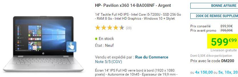PortableHP Pavilion x360 14-BA008NF