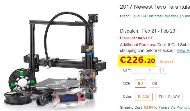 imprimante 3D Tevo Tarantula 2017