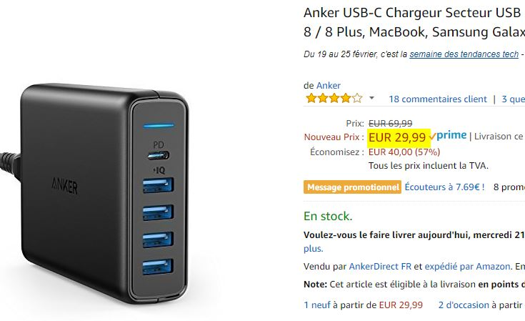Chargeur USB Anker PowerPort 60W
