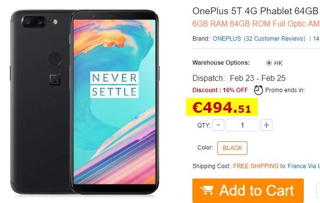 Smartphone OnePlus 5T 6Go/64Go Noir Stock France