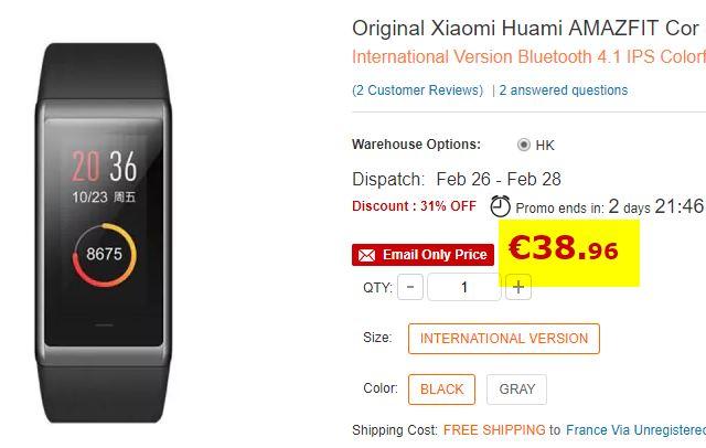 Bracelet connecté Xiaomi Amazfit Cor (International)