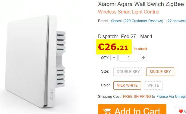 Interrupteur Xiaomi Aqara mural Zigbee