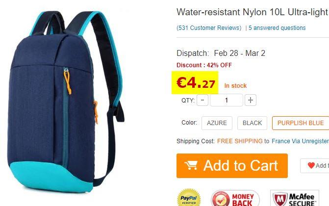 Sac à dos 10 litres en Nylon