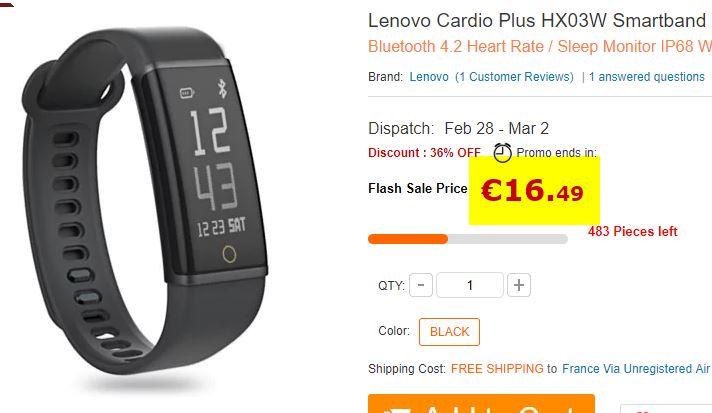 Bracelet sport Lenovo Cardio Plus HX03W