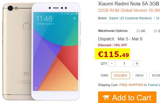 Smartphone Xiaomi Redmi Note 5A 3Go/32Go Or