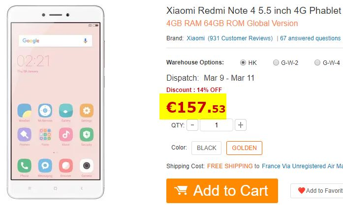 Smartphone Xiaomi Redmi Note 4 4/64Go Or