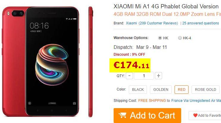 Smartphone XIAOMI Mi A1 Rouge 4/32Go