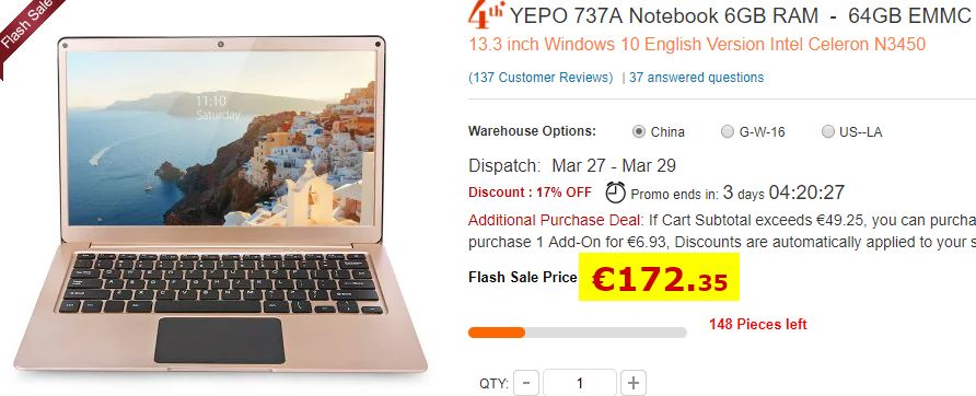 Ultraportable Yepo 737A 6Go/64Go