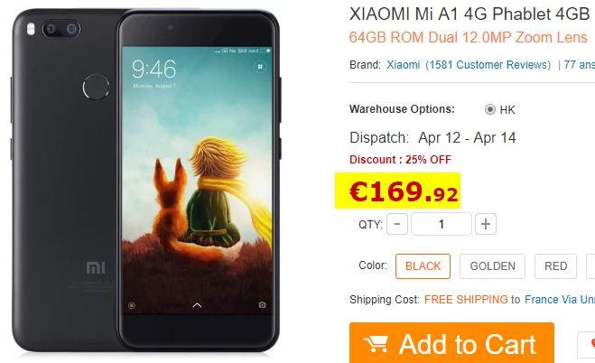 Smartphone XIAOMI Mi A1 Noir 4/64Go