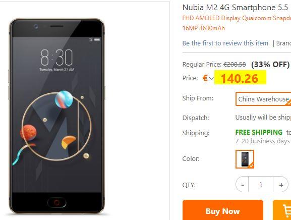Smartphone Nubia M2 4/64Go