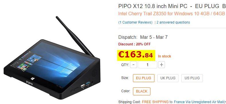 MiniPC Pipo X12 4/64Go