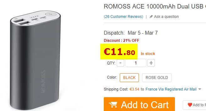 Batterie Romoss ACE 10000 mAh
