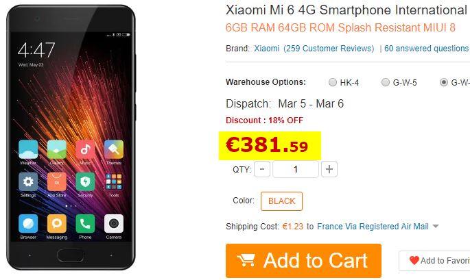 Xiaomi Mi 6 - 6Go/64Go Noir Stock France