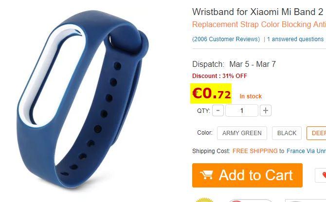 Bracelet silicone pour Xiaomi MiBand 2