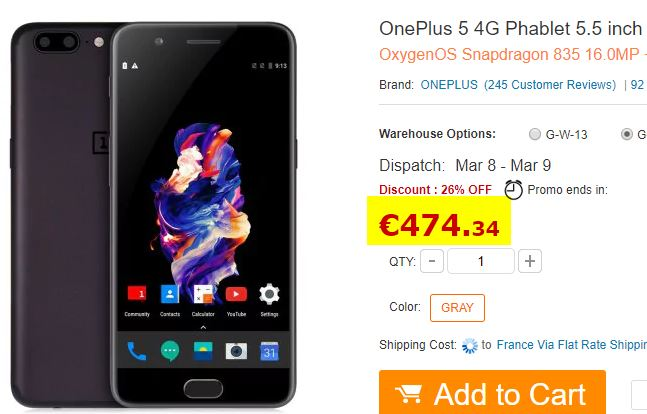 Smartphone OnePlus 5 6/64Go Gris
