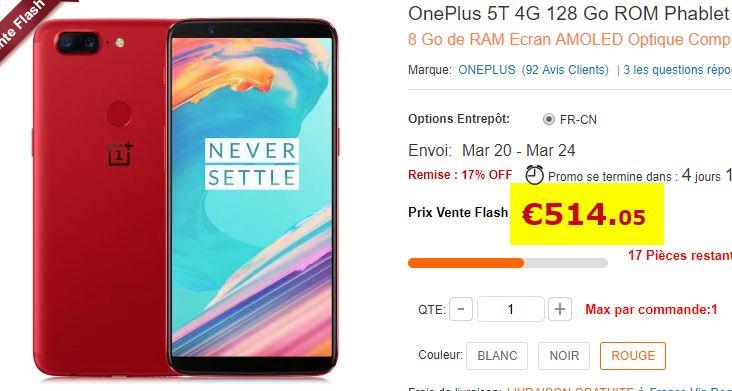 Smartphone OnePlus 5T 8/128 Go Rouge