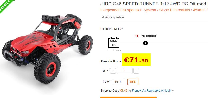 Voiture Radio commandée JJRC Q46 Speed Runner