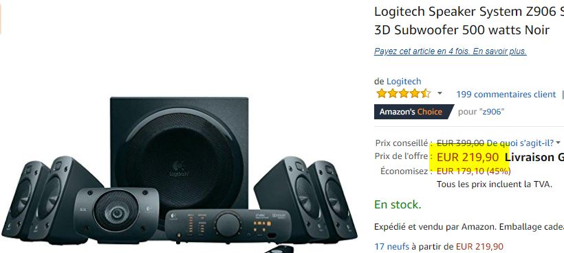 Kit enceintes 5.1 Logitech Speaker System Z906